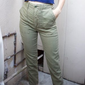 THE GREAT. Army Green Ankle Pants